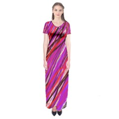 Purple pattern Short Sleeve Maxi Dress