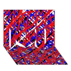 Red and blue pattern I Love You 3D Greeting Card (7x5)