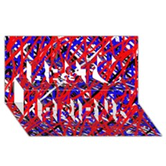 Red and blue pattern Best Friends 3D Greeting Card (8x4)