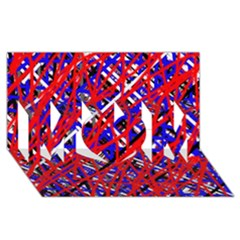 Red and blue pattern MOM 3D Greeting Card (8x4)