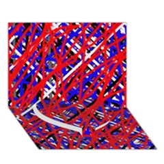 Red And Blue Pattern Heart Bottom 3d Greeting Card (7x5)