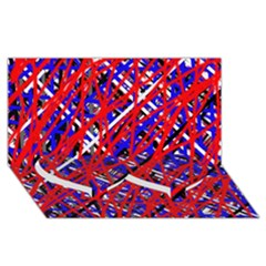 Red and blue pattern Twin Heart Bottom 3D Greeting Card (8x4)
