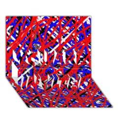 Red and blue pattern YOU ARE INVITED 3D Greeting Card (7x5)