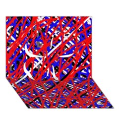 Red and blue pattern Clover 3D Greeting Card (7x5)
