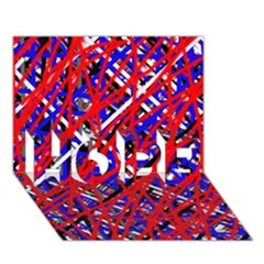 Red and blue pattern HOPE 3D Greeting Card (7x5)