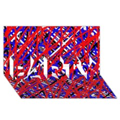 Red and blue pattern PARTY 3D Greeting Card (8x4)