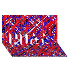 Red and blue pattern HUGS 3D Greeting Card (8x4)