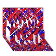 Red and blue pattern THANK YOU 3D Greeting Card (7x5)