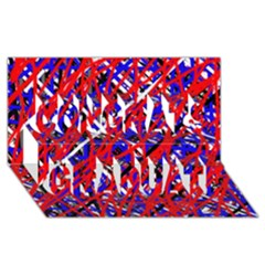 Red and blue pattern Congrats Graduate 3D Greeting Card (8x4)