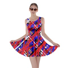Red and blue pattern Skater Dress