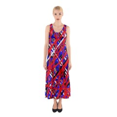 Red and blue pattern Sleeveless Maxi Dress