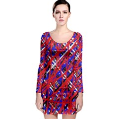 Red and blue pattern Long Sleeve Bodycon Dress