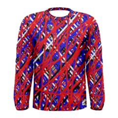 Red and blue pattern Men s Long Sleeve Tee