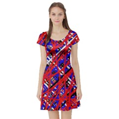 Red and blue pattern Short Sleeve Skater Dress
