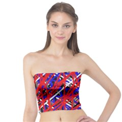 Red and blue pattern Tube Top
