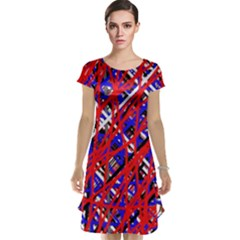 Red and blue pattern Cap Sleeve Nightdress