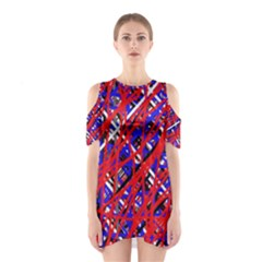 Red And Blue Pattern Cutout Shoulder Dress