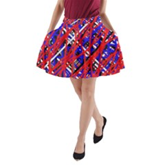 Red and blue pattern A-Line Pocket Skirt