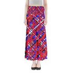 Red and blue pattern Maxi Skirts