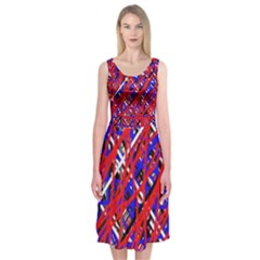 Red and blue pattern Midi Sleeveless Dress