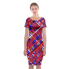 Red and blue pattern Classic Short Sleeve Midi Dress