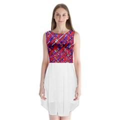 Red and blue pattern Sleeveless Chiffon Dress