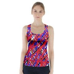 Red and blue pattern Racer Back Sports Top