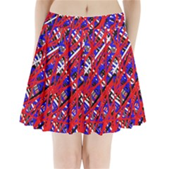 Red And Blue Pattern Pleated Mini Mesh Skirt