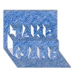 Blue pattern TAKE CARE 3D Greeting Card (7x5)