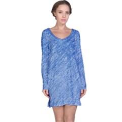 Blue pattern Long Sleeve Nightdress