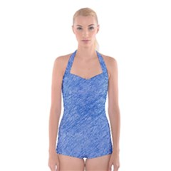 Blue pattern Boyleg Halter Swimsuit