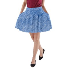 Blue pattern A-Line Pocket Skirt