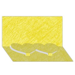 Yellow pattern Twin Heart Bottom 3D Greeting Card (8x4)