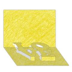 Yellow pattern LOVE Bottom 3D Greeting Card (7x5)