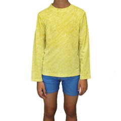 Yellow Pattern Kid s Long Sleeve Swimwear