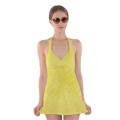 Yellow Pattern Halter Swimsuit Dress