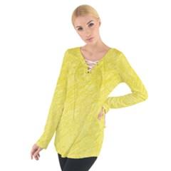 Yellow pattern Women s Tie Up Tee