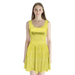 Yellow Pattern Split Back Mini Dress