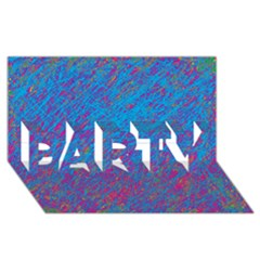 Blue pattern PARTY 3D Greeting Card (8x4)