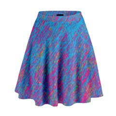 Blue pattern High Waist Skirt