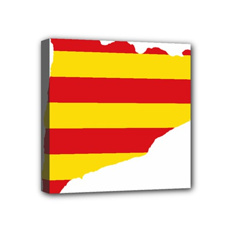 Flag Map Of Catalonia Mini Canvas 4  x 4
