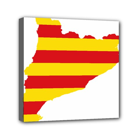 Flag Map Of Catalonia Mini Canvas 6  x 6
