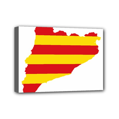 Flag Map Of Catalonia Mini Canvas 7  x 5