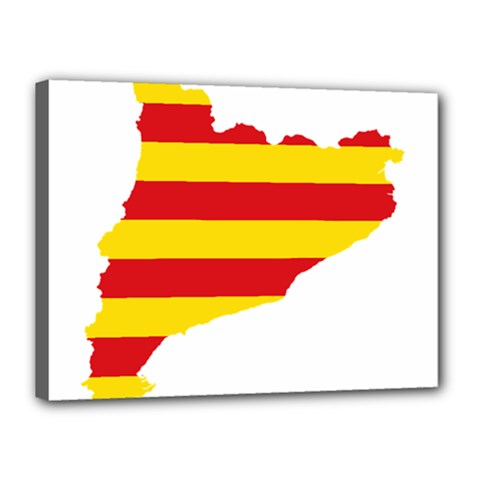 Flag Map Of Catalonia Canvas 16  x 12