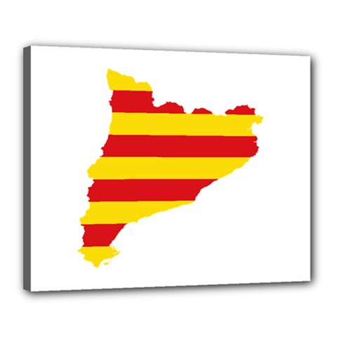 Flag Map Of Catalonia Canvas 20  x 16