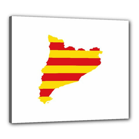 Flag Map Of Catalonia Canvas 24  x 20