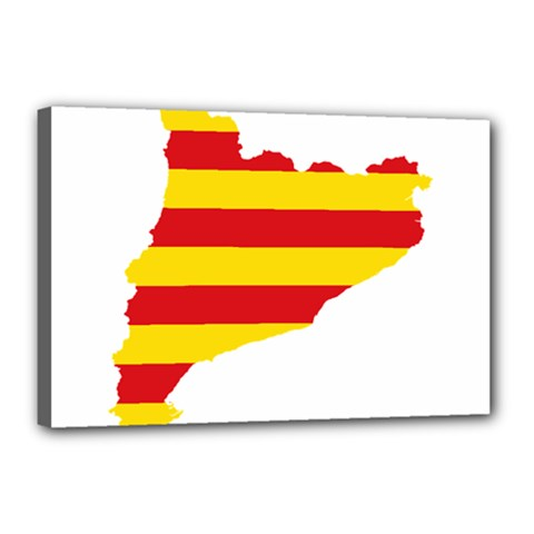 Flag Map Of Catalonia Canvas 18  x 12