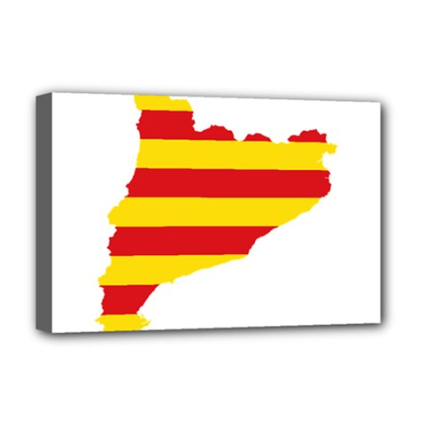 Flag Map Of Catalonia Deluxe Canvas 18  x 12
