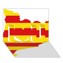 Flag Map Of Catalonia I Love You 3D Greeting Card (7x5)