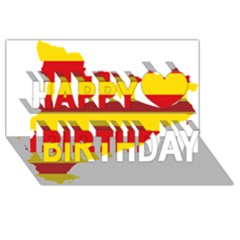 Flag Map Of Catalonia Happy Birthday 3D Greeting Card (8x4)